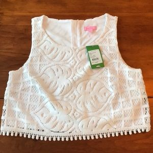 Lilly Pulitzer 'leafy Pom lace' top NWT